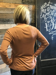 Dusty Mauve Solid Drape Neck