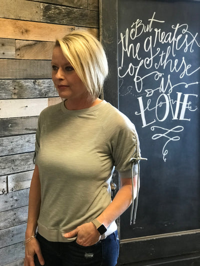 Grey Tied Ruched Top