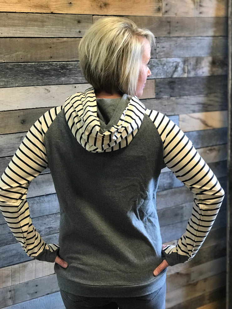 Heather Grey with Black Stripes Hoodie