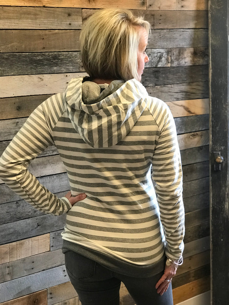 Light Heathered Grey Striped Hoodie