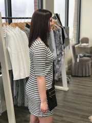 Ivory Grey Striped Shirt Dress