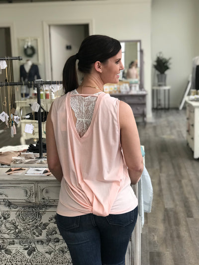 Jersey Blush Tank With Back Knot
