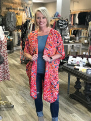 Coral Floral Duster