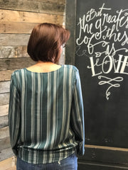 Striped Surplice Long Sleeve Top