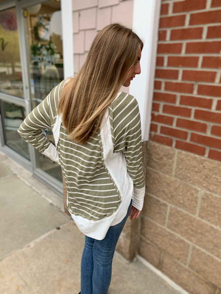 Olive Striped Raw Edge Top