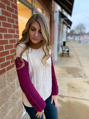 Magenta Color Block Sweater