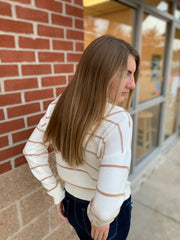 Ivory Brown Striped Sweater
