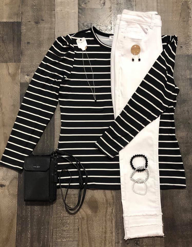 Puff Black Striped Top