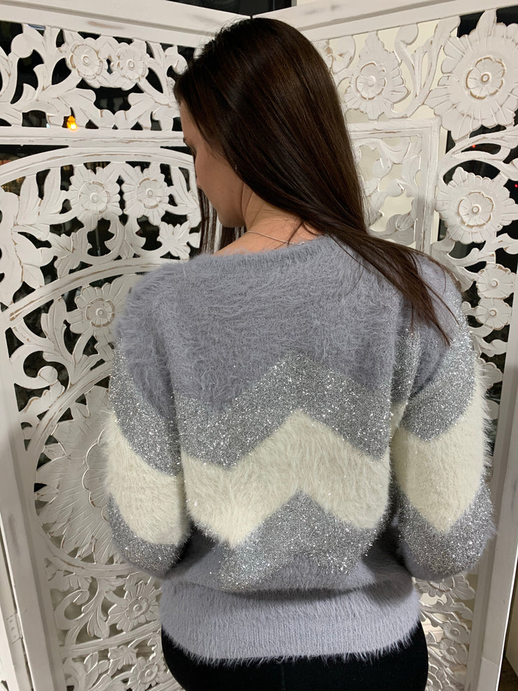 Chevron Metalic Fuzzy Sweater