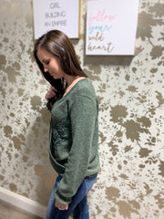 Olive Lace Trim Ribbed Knit Top