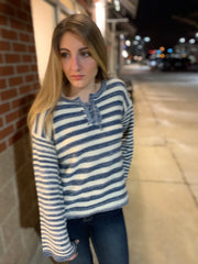 Tie Up Stripe Sweater