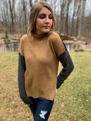 Taupe-Black Color Block Sweater