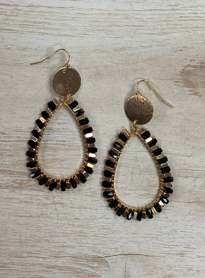 Black Sparkle Oval Drop Earrings