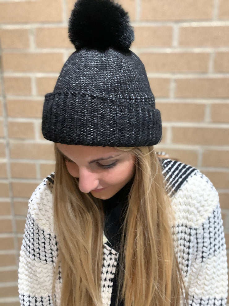 Shiny Knit Ribbed Pom Pom