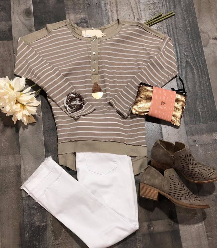 Taupe Washed Henley