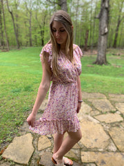Cream Floral Mini Dress