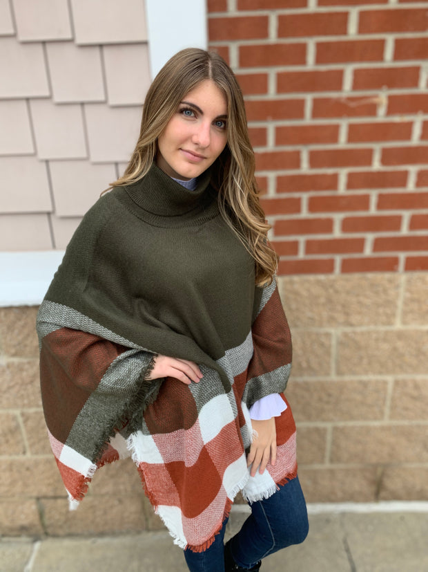 Checker Turtleneck Poncho
