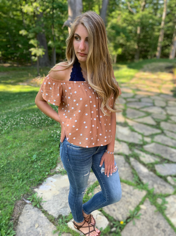 Off Shoulder Polka Dot