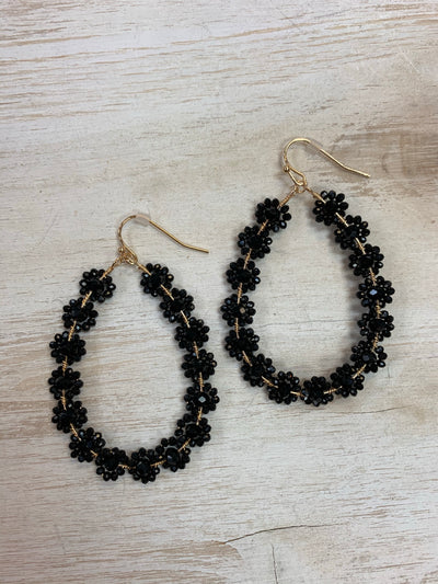 Black Floral Drop Earrings