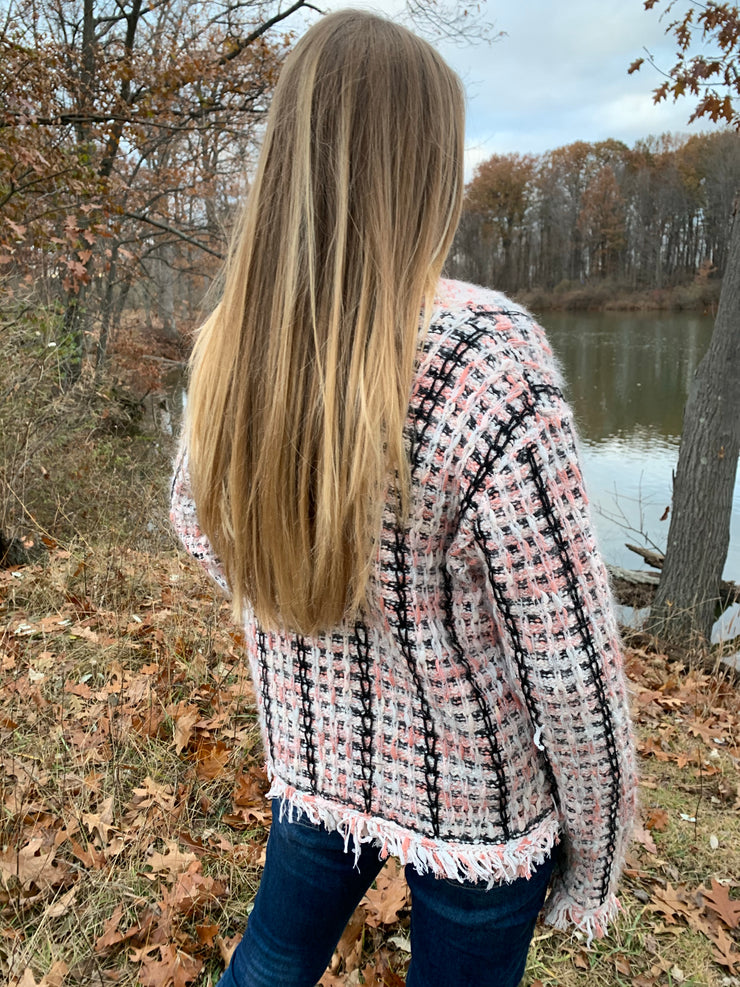 Button Tweed Cardigan