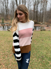 Pastel Color Block Striped Sweater