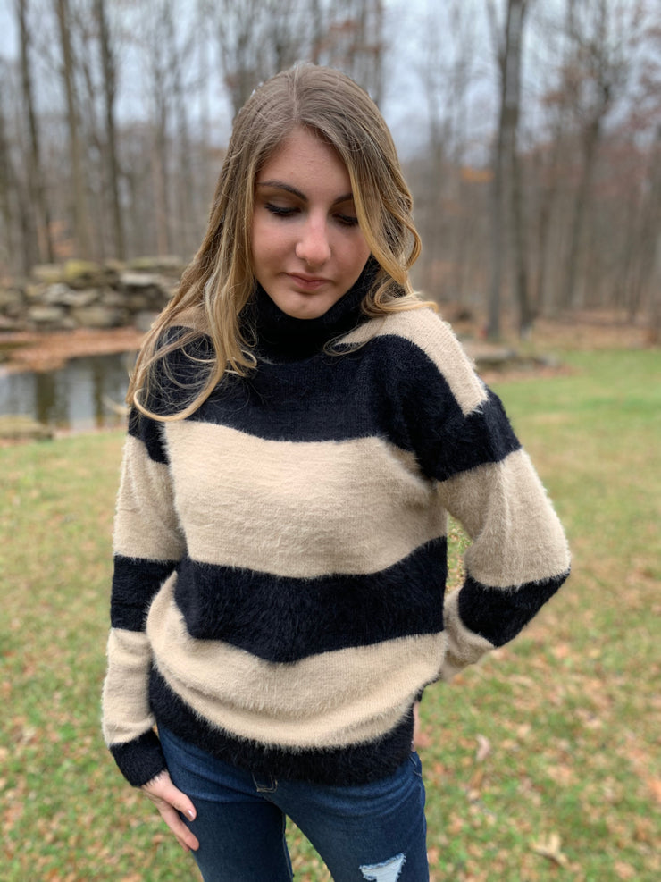 Striped Colorblock Turtleneck