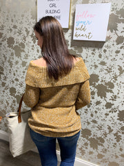 Off Shoulder Marled Sweater