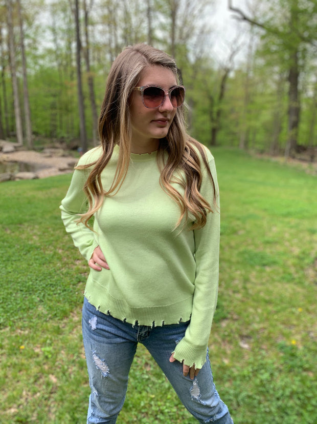 Destroyed Lime Sweater