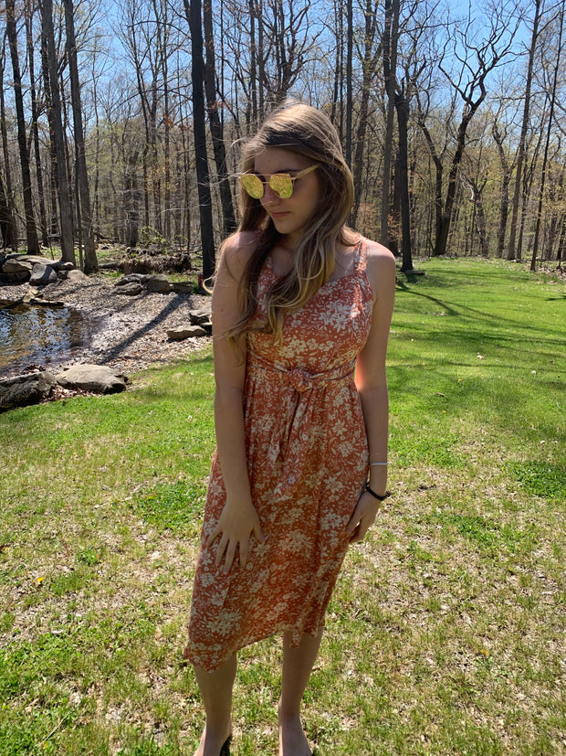 Dusty Peach Floral Dress