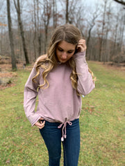 Mauve Oversize Washed Terry Top