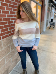 Off The Shoulder Bell Sleeve Color Block Sweater