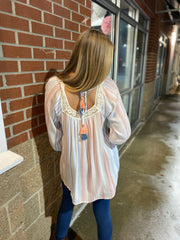 Lace Trim Striped Tunic