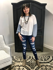 Ivory Blue Balloon Sleeve Top