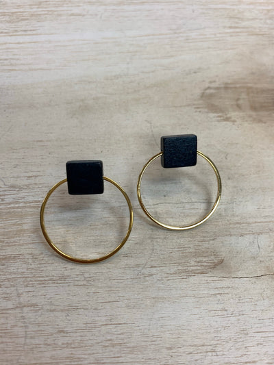 Navy Box Earrings