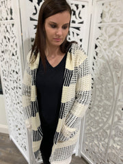 Color Mixed Hooded Cardigan