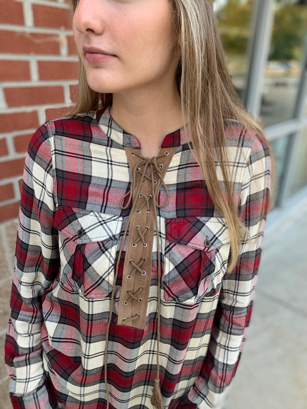 Leather Tie Plaid