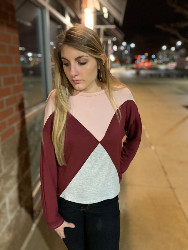 Red Colorblock Top