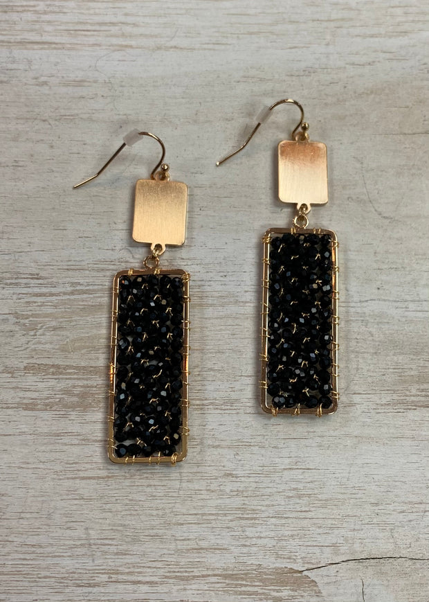 Black Rectangular Drop Earrings