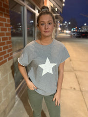 Sleeveless Distressed Star Sweatshirt