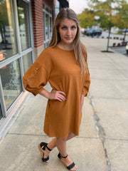 Button Sleeve Shift Dress