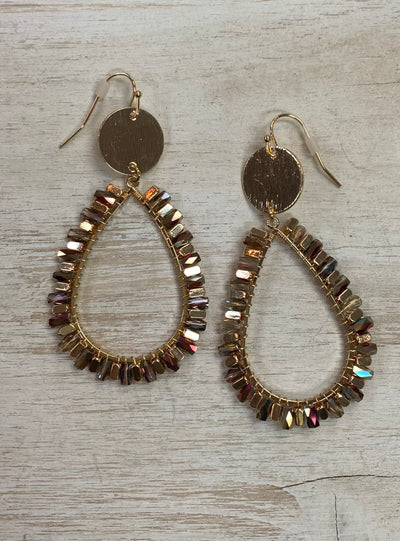 Gold Sparkle Oval Drop Earrings