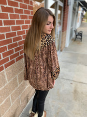 Animal Print Peasant Top