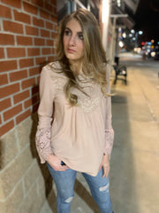 Blush Embroidered Woven Top