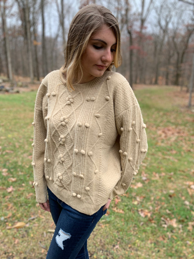 Beige Puff Sweater