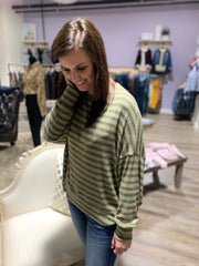 Olive Charcoal Striped Dolman Open Back