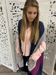 Bobeau Nightfall Colorblock Scarf Cardi