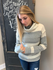 Heather Grey Turtleneck Stripe
