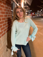 Tie Mint Sleeve Sweater