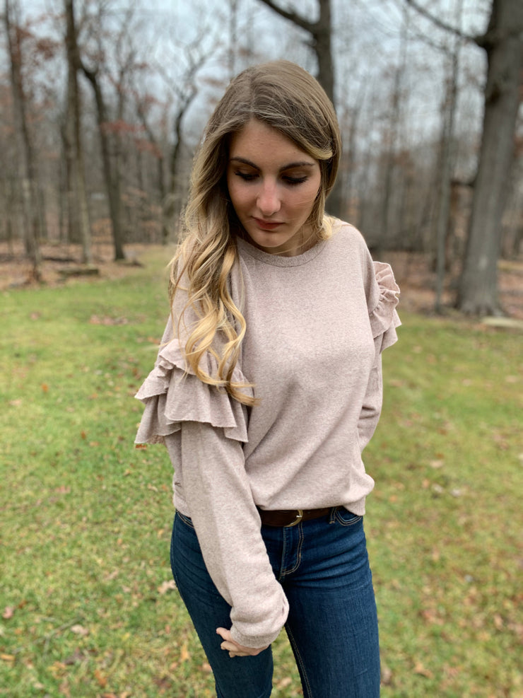 Ruffled Sleeve Terry Pullover