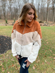 Colorblock Fur Jacket